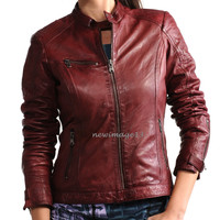 NEW 100% GENUINE WOMEN'S SOFT LAMBSKIN LEATHER BOMBER BIKER JACKET # WJ251