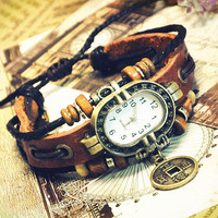 Wrist Watch Handmade Wristwatches Vintage Ladies Girls Womens Mens Leather Bangle Beaded Bracelet Quartz  Lucky Coin Pendant (GA0029)