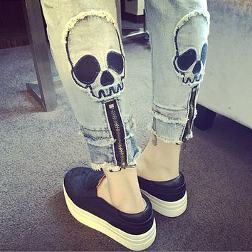 Personality Fashion Casual Zip Skull Head Jeans Pants Trousers Small Foot Pants