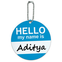Aditya Hello My Name Is Round ID Card Luggage Tag