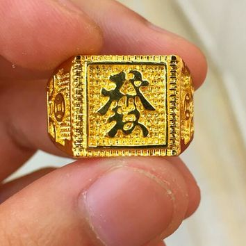 Classic Retro Chinese Successful Boss Chinese Character Ring plated Gold Cool Men's Jewelry Wedding Engagement Gift