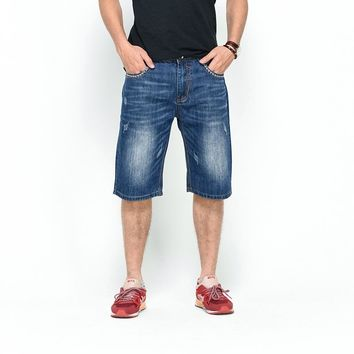 English Style Denim Men's Straight Loose Fit Short Pants/Jean by Lance Donovan