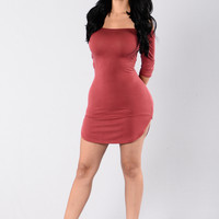 What A Difference Dress - Burgundy