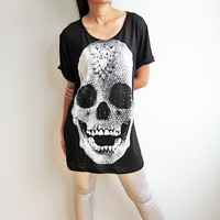 Diamond Skull Skeleton Shirts Damien Hirst Gothic Art Black Womens T-Shirt Size M
