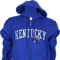 University of Kentucky Distressed Arch on Blue Zip Up
