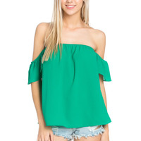 Short Sleeve Off the Shoulder Flowy Kelly Green Top