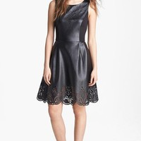 Betsey Johnson Laser Cut Faux Leather Fit & Flare Dress (Online Only) | Nordstrom