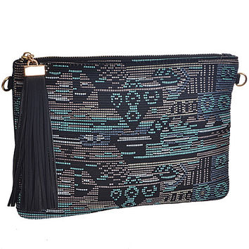 Aztec Pattern Top Zip Clutch