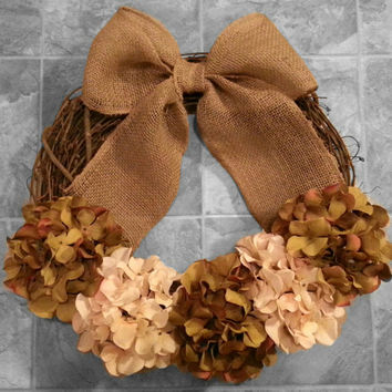 Grapevine Door Wreath with Hydrangea flowers & a Burlap Bow