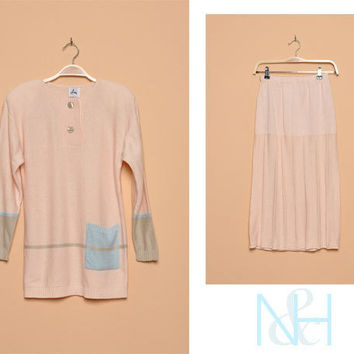 Vintage 1980s Pastel Two-Piece Knit Set with High Waist Skirt