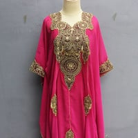 Fancy Kaftan Gold Embroidery Dress Wedding Spring Summer Party Batwing Style Pink Caftan Maxi Dress