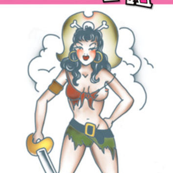 Costume Accessory: Tattoo Pirate Pin Up Girl