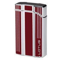 Lotus L47 Intrepid Red & Polished Chrome Twin Flame Lighter with Punch