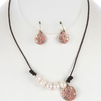 Starfish Coin Charm Pearl Bib Knotted Cord Aged Finish  Necklace Earring Set