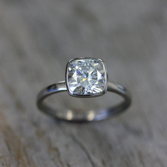 Cushion Cut 8mm Moissanite Engagement From Onegarnetgirl