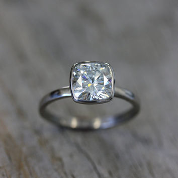 Cushion Cut 8mm Moissanite Engagement Ring in 14k Palladium White Gold, Solitaire Cushion Cut Gemstone Ring