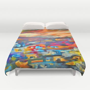 My Village | Colorful Small Mountainy Village Duvet Cover by Azima