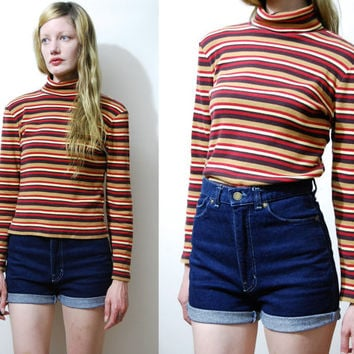 90s Vintage STRIPE TOP Horizontal Stripes Skivvy Turtleneck Long sleeve shirt Blouse Roll-Neck Sweater Ribbed Jersey 1990s vtg Grunge S M