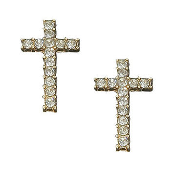 Rhinestone Cross Earring | Shop Junior Clothing at Wet Seal