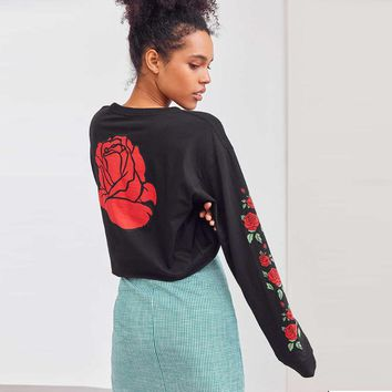 Rose Floral Printed Women Short Hoodie Sweatshirt Jumper Crop Top Fitness Pullover Cotton Tops Blusas