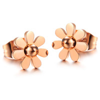 Ms little Daisy rose gold titanium steel stud earrings