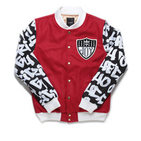 RICH GRAFFITI VARSITY JACKET / RED