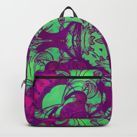mandala 5 green purple #mandala Backpacks by Lionmixart