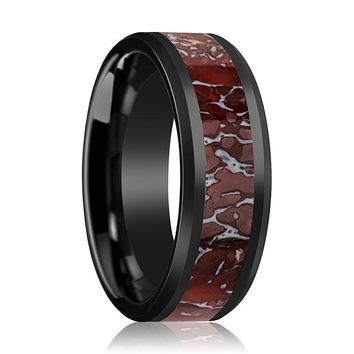 REXXY Beveled Black Ceramic Couple Matching Ring with Red Dinosaur Bone Inlay Polished Finish - 4MM - 8MM