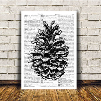 Pine cone poster Nature art Dictionary print Modern decor RTA41
