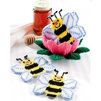 Plastic Canvas Cross Stitch kit,  Bees coasters 1 set 4 with storage box