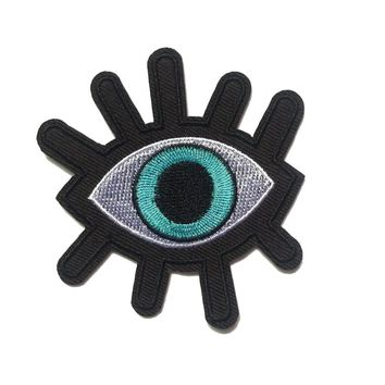 2 Pcs New Eye eyeball tattoo wicca occult goth punk retro embroidered applique iron-on Biker vest patch
