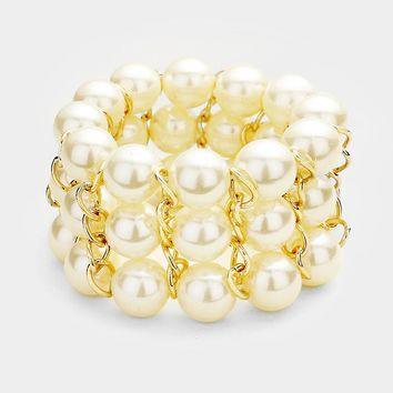 "1.50"" wide faux pearl arm candy stretch bracelet bangle cuff"