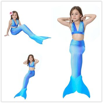 3-12Y Girls Swimsuit 2017 baby girl Pink Mermaid Bikini kids swimming swimwear Mermaid tail Costume Beach Bathing suit 3 Pieces