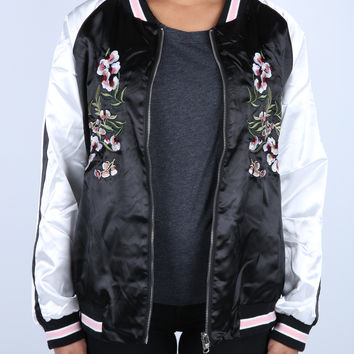 The Ashley Reversible Embroidered Jacket in Black