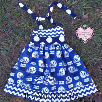 NFL Indianapolis Colts Licensed fabric Halter Dress with M2M headband/Girls Dresses/Girls Clothing/Boutique Clothing/Boutique Dresses