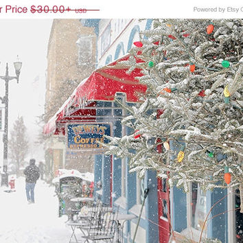 On sale Christmas landscape photography, red white blue Holiday decorations, Winter Snow photograph