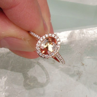 Peach Champagne Sapphire 14k Rose Gold Diamond Halo Engagement Ring Morganite Alternative