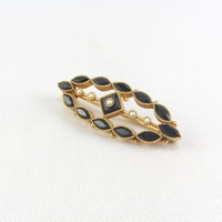 Antique 10K Onyx and Seed Pearl Pin Pendant Art Deco Mourning Memorial Brooch Yellow Gold Fine Jewelry