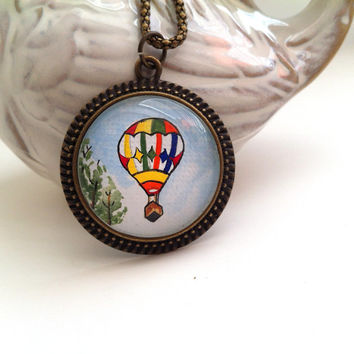 Hot Air Balloon Necklace, Balloon Pendant, Hand Painted Pendant,Retro Jewelry,Wearable Art Necklace,Whimsical Necklace,Unique Gifts for Her