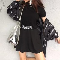 """Chanel"" Women Casual Fashion Letter Print Coat Embroidery Short Sleeve Tops Skirt Set Three-Piece"