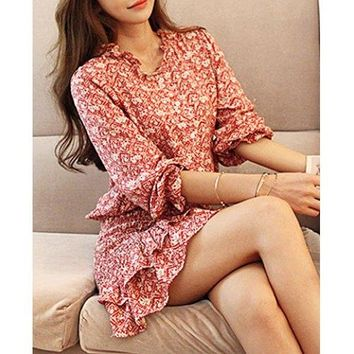 Trendy Style Jewel Neck Full Print Long Sleeve Women's Dress