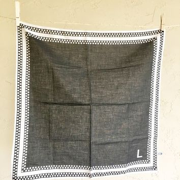 Baar and Beards Vintage Scarf Black White Polka Dots L letter initials Accessory