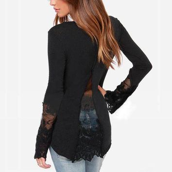 PEAPGB2 2015 New Fashion Women Trendy Shirts Lace Long Sleeve O-Neck Ladies Leisure All Match Blouse Shirt S-3XL