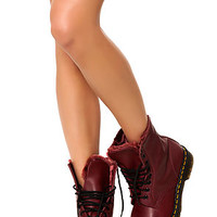The Serena Boot with Faux Fur Lining in Cherry Red