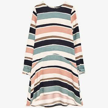 STRIPED FLOUNCE DRESS DETAILS