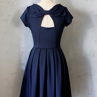 HOLLY GOLIGHTLY in NAVY - Navy blue dress with pockets // pleated skirt // back cut out & bow // bridesmaid dress // vintage inspired