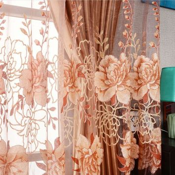 Window Curtains Luxurious Upscale Jacquard Yarn Curtains Peony Pattern Voile Door tulle curtains Living Room Bedroom Decor