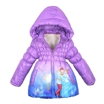 Children Coat Cinderella Baby Girls winter Coats full sleeve coat girl's warm Baby jacket Winter Outerwear Thick Hooded