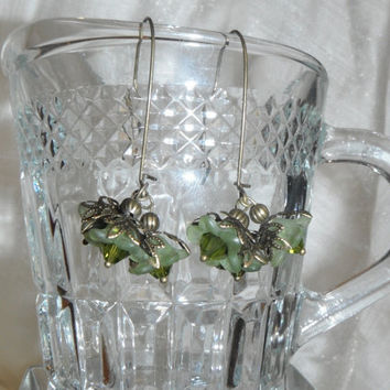 Green Flower Earrings on Brass Kidney Ear Wires Trio Lucite Gift fashion under 20