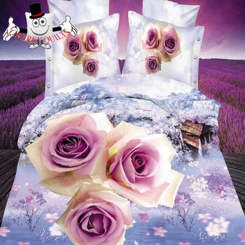 Scenic Pink Rose Floral Bedding Set and Quilt Cover